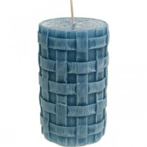 Søjlelys blå, vokslys Rustik, stearinlys med flettet mønster 110/65 2stk