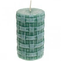 Stearinlys med flettet mønster, søjler stearinlys Rustik grøn, stearinlys 110/65 2stk