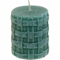 Søjler stearinlys Rustikt 80/65 grønt lys dekorationslys 2stk