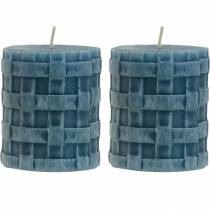 Søjler stearinlys rustikke blå 80/65 stearinlys rustikke 2stk