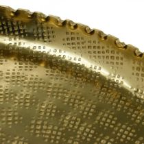 Orient-optisk bakke, gylden dekorativ plade, metal dekoration Ø18,5cm