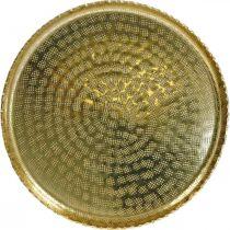 Rund metalbakke, gylden dekorativ tallerken, orientalsk dekoration Ø30cm