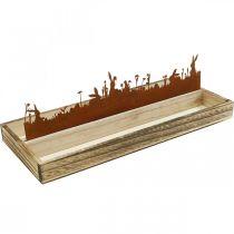 Dekorativ bakke påskeeng, foråret dekoration, træbakke med rustfri rust rust 35 × 15cm