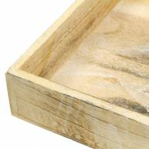 Træbakke firkantet hvidvasket 30 × 30 cm / 25 × 25 cm sæt med 2