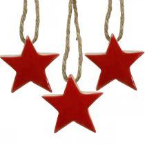 Træstjerner juletræspynt rød, naturlige dekorative stjerner 5cm 24stk