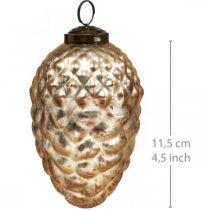 Pine kegle vedhæng, juletræspynt, efterårsdekoration, ægte glas, antik look Ø7cm H11,5cm 6stk.
