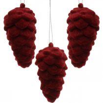 Dekorative kegler flokket, efterårsdekoration, fyrretrikkegler rød, advent H8,5cm Ø4,5cm 8stk