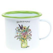 Dekorativ kop med emaljeret plantepotte Ø11,5cm H10cm