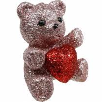 Dekorativ propbjørn med hjerte, Valentinsdag, blomsterknap glitter 9stk