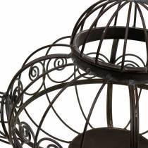Dekorativ tekande cachepot metal mørkebrun Ø28cm H24cm