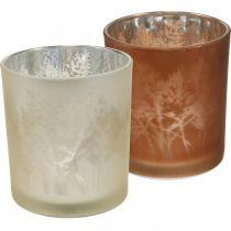 Glaslygte, fyrfadsglas med bladmotiv, efterårsdekoration Ø8cm H9cm 2stk