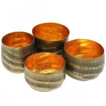 Fyrfadsstage rund metal bronze, guld Ø6,5-8,5cm sæt med 4