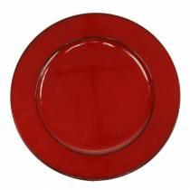 Dekorativ plade rød / sort Ø22cm