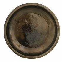 Dekorativ plade af metal bronze med glasureffekt Ø23,5cm