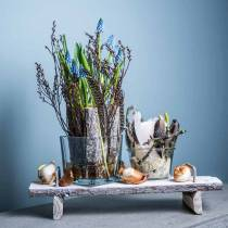 Borddekoration, bakke med fødder, træbakke, dekorativ bakke med træbark 40cm