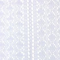 Bordløber hæklet blonder hvid 30 cm x 140 cm
