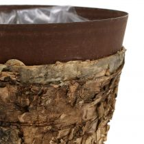 Gryde med bjørk og metal Ø17.5cm H16.5cm 1p