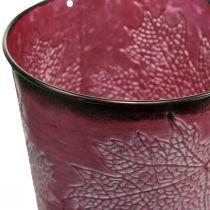 Dekorativ krukke til plantning, metalspand, metaldekoration med bladmønster vinrød Ø14cm H12,5cm