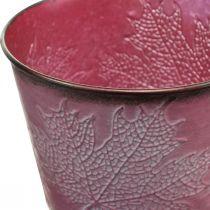Plantekrukke med bladdekoration, efterårsdekoration, metalplanter vin rød Ø16,5cm H14,5cm