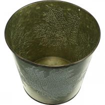 Dekorativ spand med bladdekoration, efterårspotte, metalpynt grøn Ø17cm H14,5cm