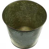 Plantekrukke med efterårsdekoration, metaldekoration, efterårsplanter grøn Ø18,5cm H17cm