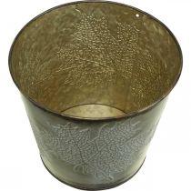 Planter til efterår, metalspand med bladdekoration, gylden metalbeholder Ø14cm H12,5cm