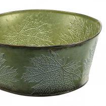 Planteskål med ahornblade, efterårsdekoration, metalbeholder grøn Ø25cm H11cm