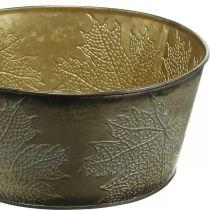 Efterårsskål, metalpotte med bladdekoration, gylden plantekrukke Ø25cm H10cm