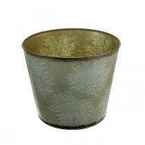 Plantekrukke, efterårsdekoration, metalbeholder med blade gyldne Ø25,5cm H22cm