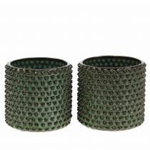 Planter dekorativ gryde grøn, brun Ø10cm H10cm sæt med 2