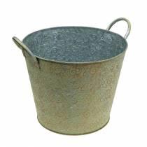 Spand grøn med håndtag Ø26cm vintage look planter metal rust