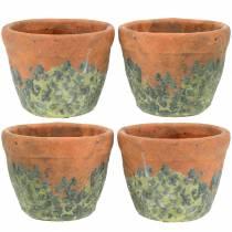 Plante potteplanter vintage naturlig ler Ø8.5cm H7cm 4stk