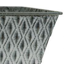 Zinkpotte med diamantmønster H11,5cm