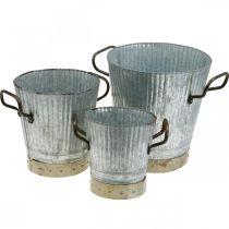 Metal cachepot med håndtag vintage dekoration Ø26 / 20 / 17cm sæt med 3
