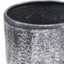 Antik zink sølv cachepot Ø22 / 26 / 30cm, sæt med 3