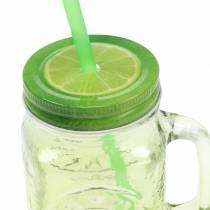 Drikkeglas med låg og halm assorteret Ø7cm H13.5cm 2stk
