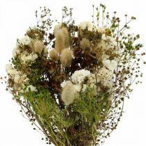 Buket tørrede blomster med enggræs hvide, grønne, brune 125 g tørrede blomster