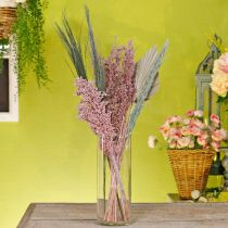 Tørrede blomster eksotisk hvid-lyserød blandetørrende buket sæt
