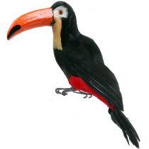 Dekorativ tukan med fjer sort L37cm