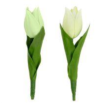 Forårsdekoration, kunstige tulipaner, silkeblomster, dekorative tulipaner grøn / creme 12stk