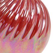 Vase, mini vase perlemor rød Ø7.5cm H10cm 6stk