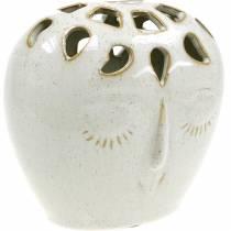 Keramisk vase med ansigtscreme, beige H13cm stentøjs look 1p