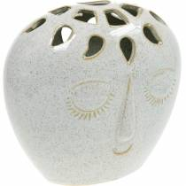 Vase med ansigtscreme, beige H18cm stentøjs look 1p