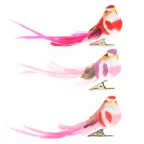 Fugl på klip lyserød, lyserød 15 cm 12stk