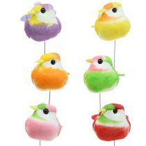 Fugle på wiren farverige 8 cm 12stk