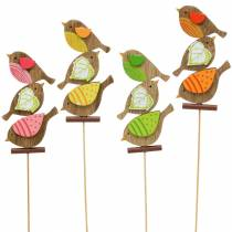 Foråret dekorationsfugle med træpind assorteret H10,5cm 12stk