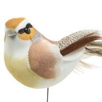 Fugle på en tråd natur 9 cm 12stk