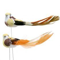Fugl på tråden brun / orange 14 cm 12stk