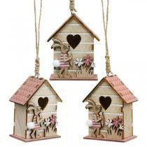 Fuglehus at hænge, forår, dekorativt fuglehus med kanin, påskedekoration 4stk