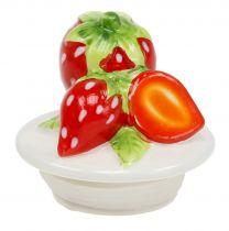 Opbevaringskrukke med låg jordbær 14,5 cm